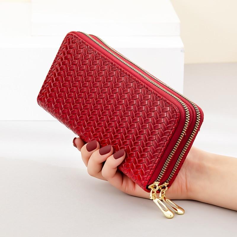 Long Women's Wallet Female Purses Weave Coin Purse Card Holder Wallets Female Pu Leather Clutch Mone