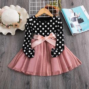 Girls Polka Dot Long Sleeve Dress Girl long sleeve princess dress Girl bow decoration mesh dress Girl spring and autumn dress