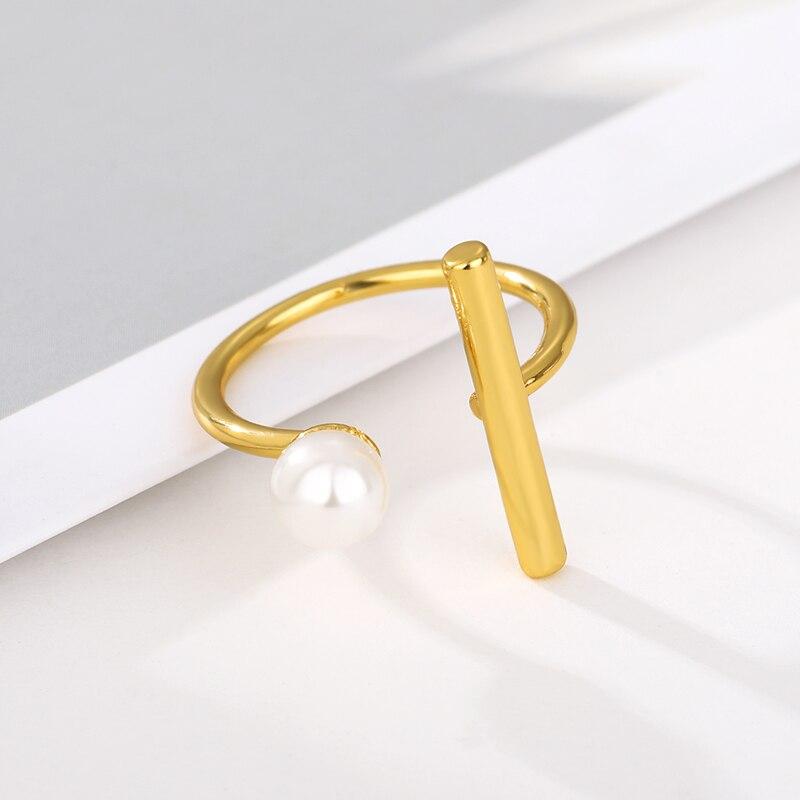 Anillos geométricos de Metal minimalista de Corea para mujeres apertura ajustable anillo con perla de imitación fiesta regalo de boda dama de honor