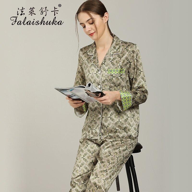19 Momme 100% حقيقية الحرير منامة مجموعات النساء ملابس خاصة الكورية الرجعية الأزياء الزهور النقي التوت الحرير النساء البيجامة T8270