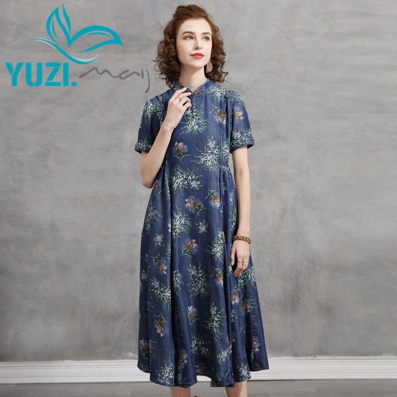 فستان سيدات 2021 Yuzi.may Boho جديد من الدنيم فساتين الصيف الحرير القطن الوقوف طوق قصيرة الأكمام الأزهار طباعة Vestidos A82299