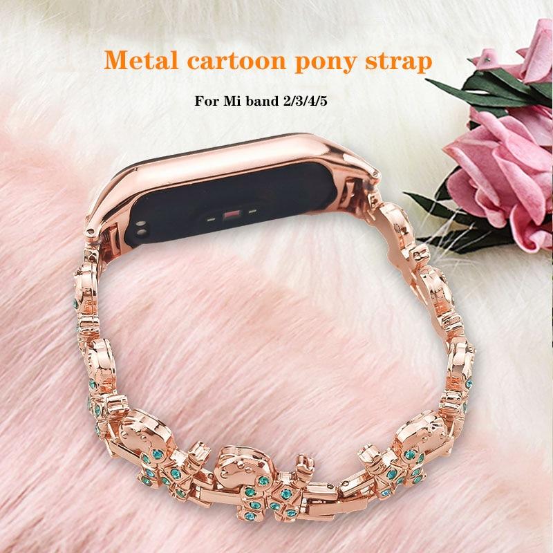 Newewt سبيكة معدنية المهر حجر الراين ل Xiaomi 5 سوار Miband 4 المعصم الفرقة سبيكة ل Miband 2 3 حزام
