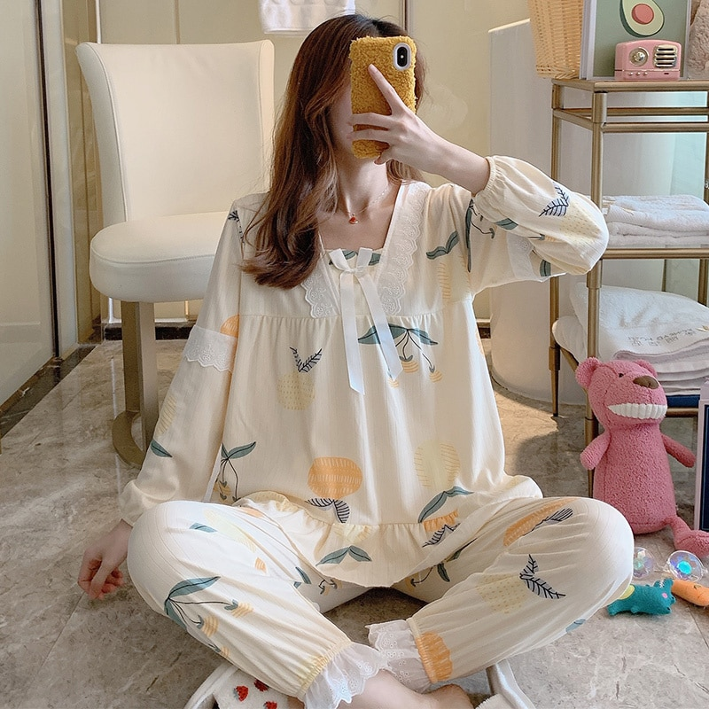 Very Fairy Pajamas Female Spring and Autumn Long Sleeve Cotton Home Clothes Set Summer Lovely Net Re