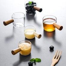 Casserole à lait en verre poignée en bois   De Style japonais, café petit gobelet, ustensiles de cuisine, plat dassaisonnement