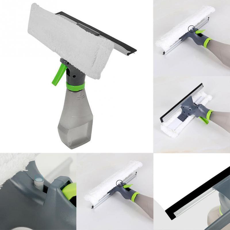 Limpiador de ventanas espray raspador seco características boquilla de atomización botella limpiaparabrisas paño de microfibra almohadilla Kit de limpieza de vidrio de coche cepillo de limpieza