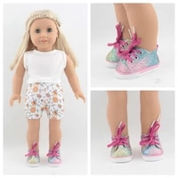 mini 7cm baby rainbow glitter sneakers shoes for dolls fits 43 cm toy new born dolls accessories and american doll