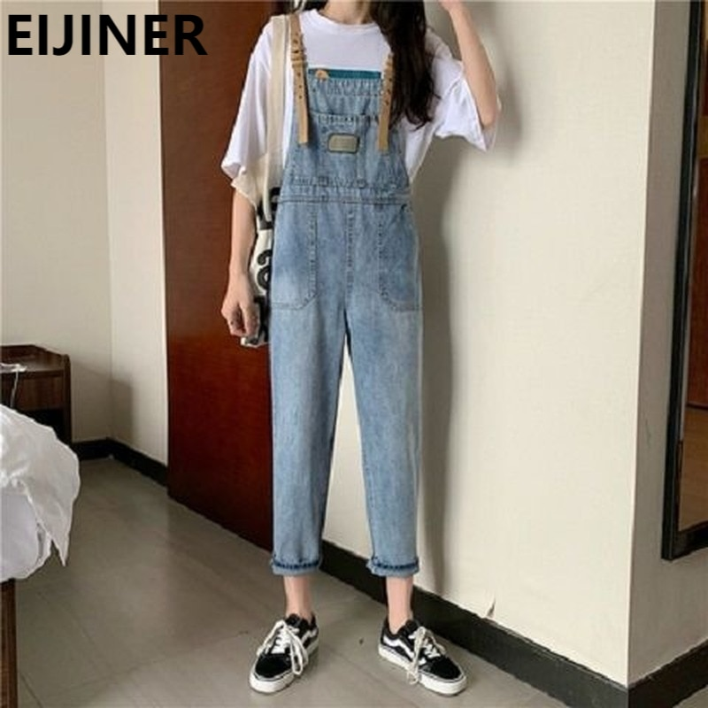 High Waist Straight Denim Overalls Jeans Women's 2021 Spring Korean Fashion Casual Baggy Distressed Plus Size Patchwork Jeans