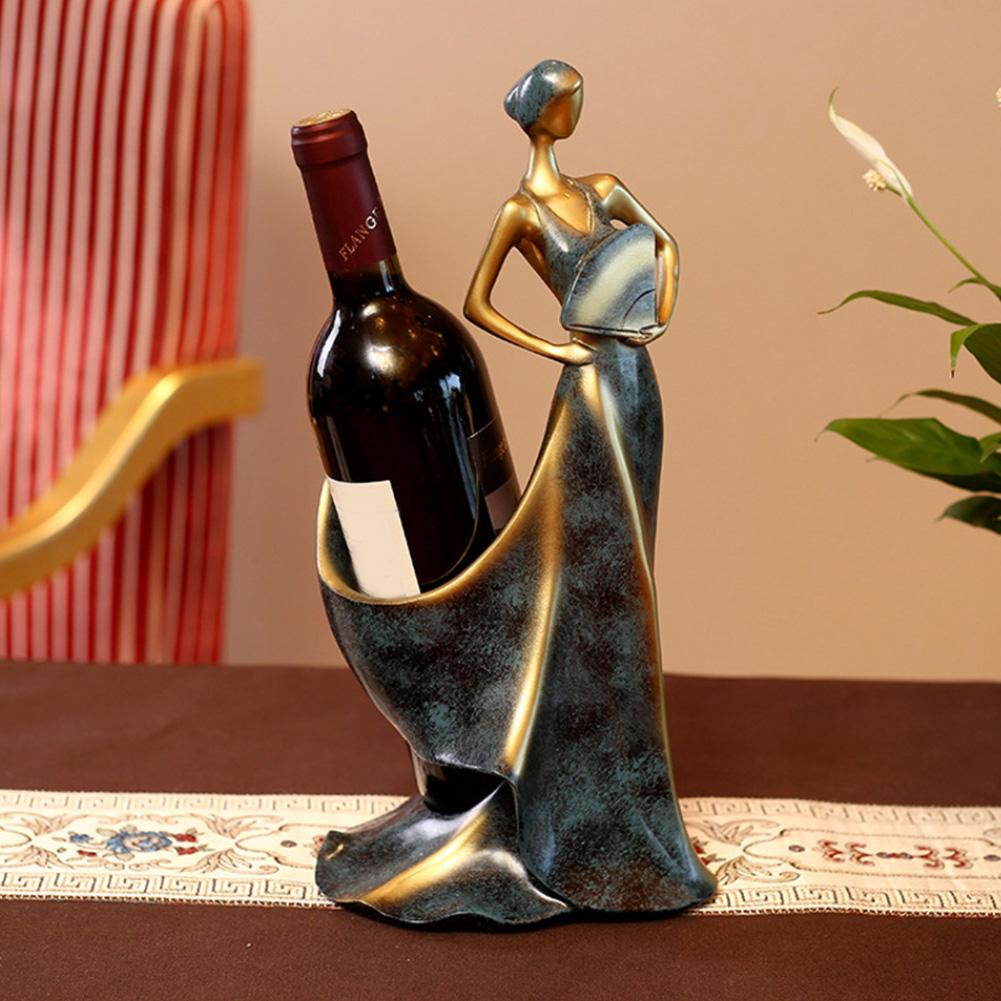 Mini belleza chica modelo estante de vino soporte de Whisky estante de botellas escultura duradera decoración de hogar de pie ornamento decoración de gabinete de vino