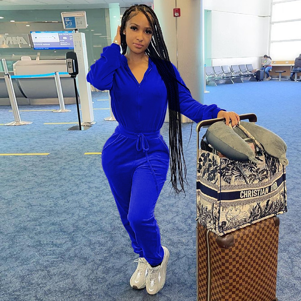 Bulk Items Wholesale Lots Velvet Rompers Womens Jumpsuit Zipper Up Long Sleeve Workout Overall Autumn Winter One Piece Outfit enlarge