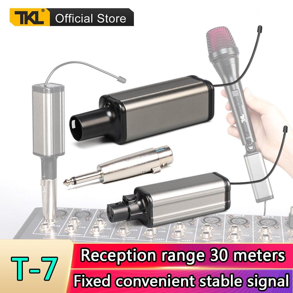 TKL T-7 UHF ميكروفون لاسلكي XLR الارسال والاستقبال 6.5 مللي متر التوصيل قابلة للشحن عدة ليده ميكروفون تلقي 30m