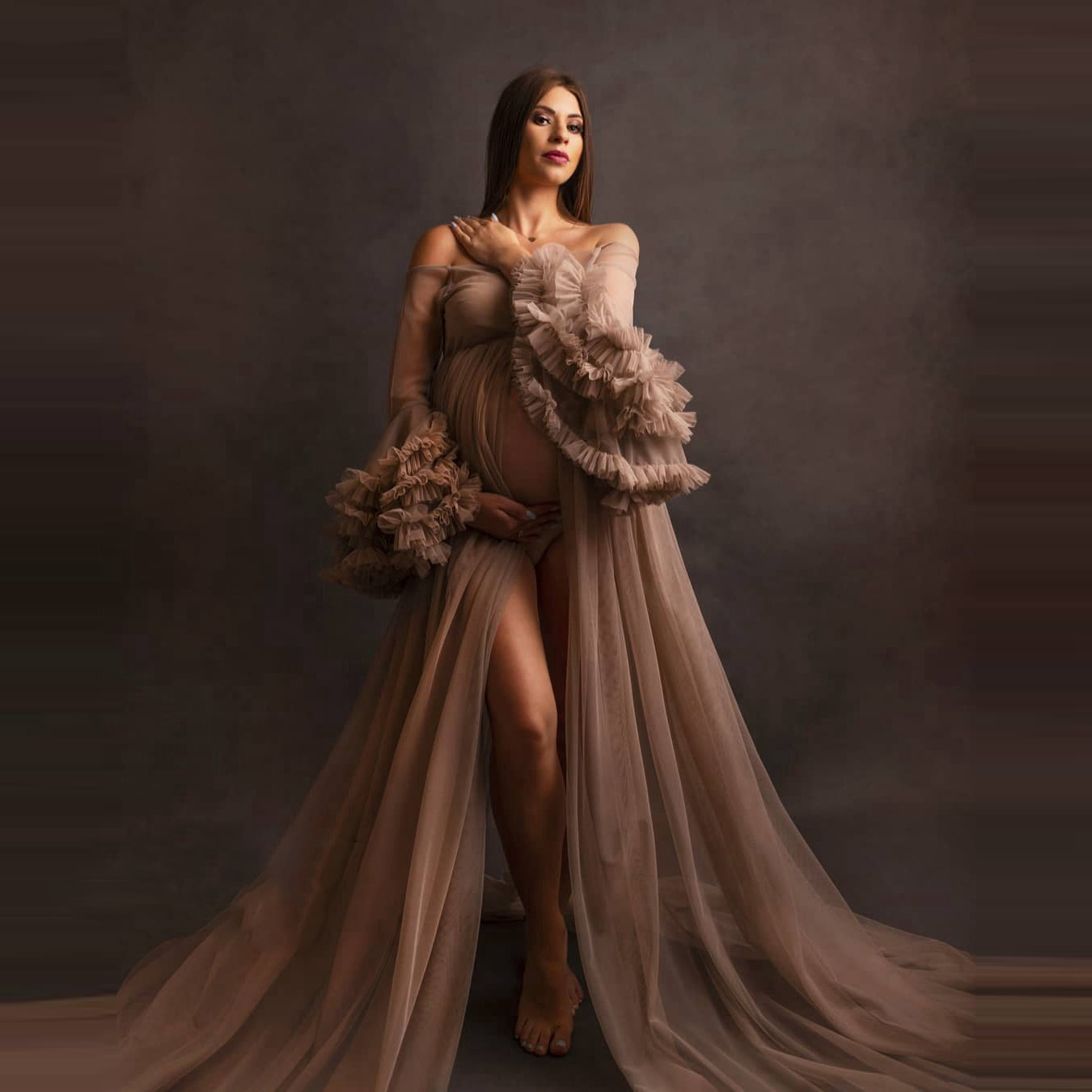 Sexy Khaki Sheer Maternity Dresses for Photography See Thru Off shoulder Women Maternity Robes Shoot