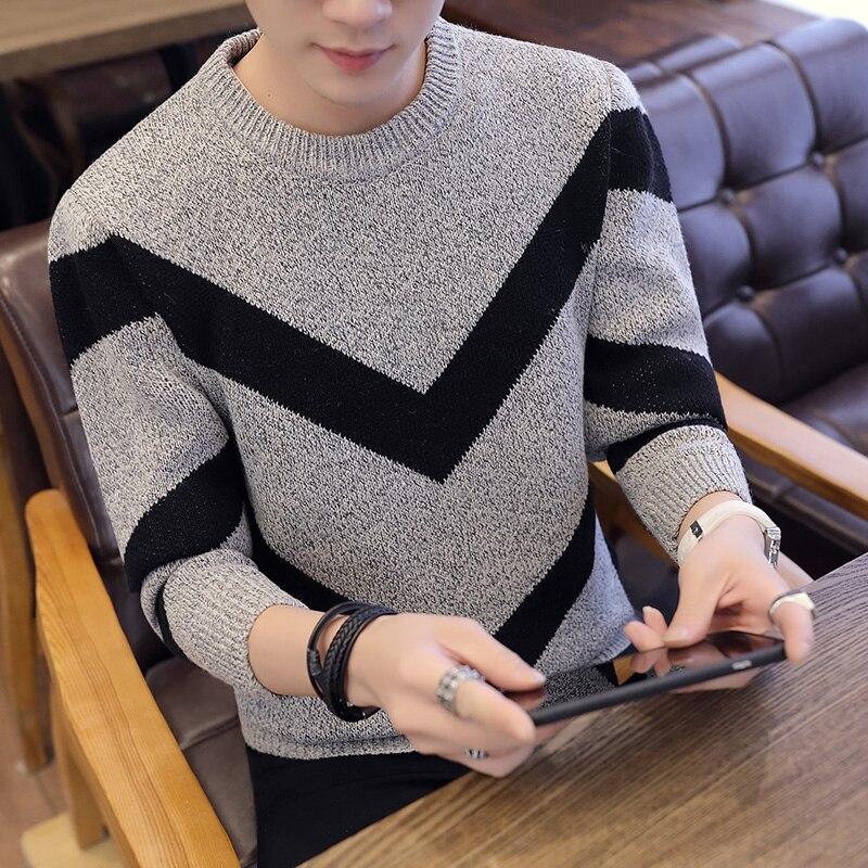 Мужской свитер, мужской плотный теплый свитер с круглым вырезом, мужской свободный свитер в Корейском стиле