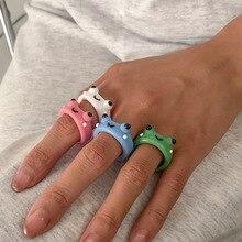 Anello rana anelli in resina polimerica argilla per ragazze gioielli animali per donna regali di gioielli da viaggio moda estiva