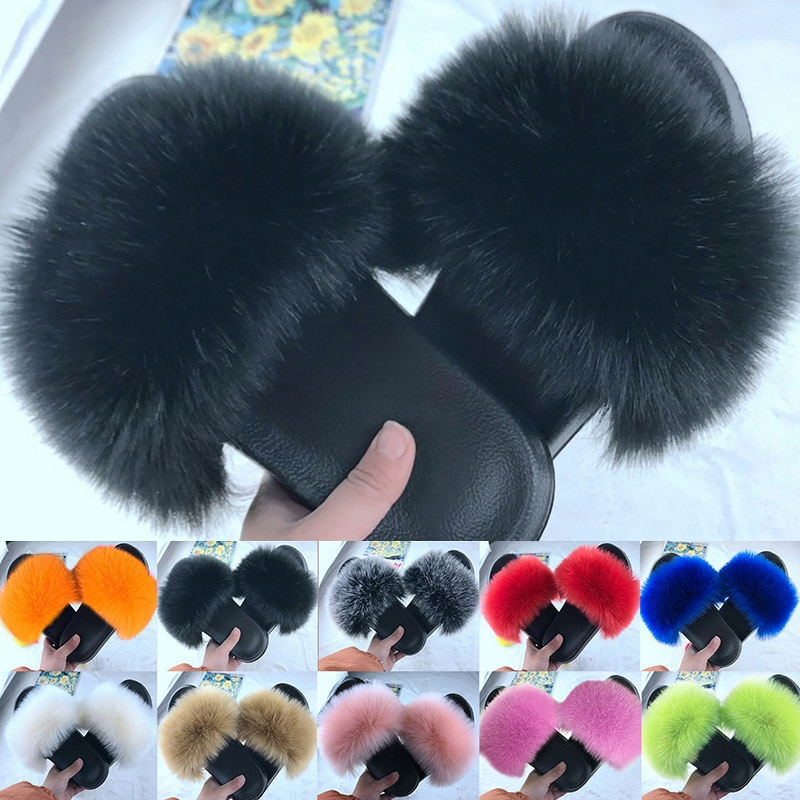 ruiyee ms real hair slipper luxurious fox hair workplace slippers comfortable hairy slippers sandals 2018 summer style 2021 Women Furry Slippers Ladies Shoes Cute Plush Fox Hair Fluffy Sandals Women's Fur Slippers Winter Warm Slippers Women