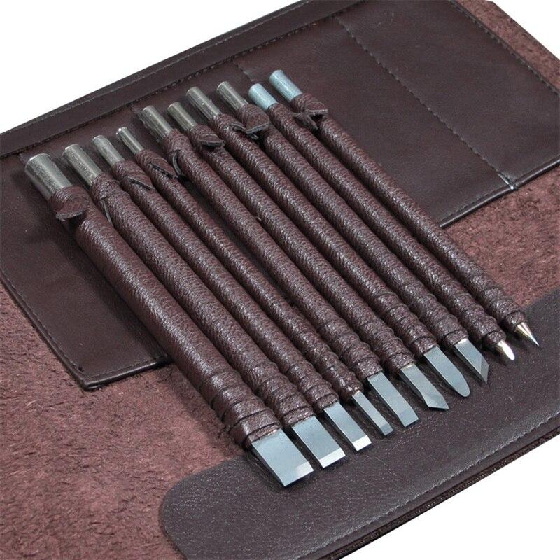 ¡Oferta! 8/10 Uds. Cuchillo de piedra tallada de acero de tungsteno para tallar cuchillos, herramientas artesanales, caja de cuero para grabar