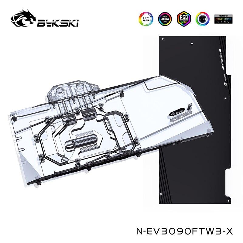 Bykski وحدة معالجة الرسومات كتلة المياه ل EVGA RTX 3090/3080 FTW3 الترا الألعاب ، مع لوحة الظهر مبرد المياه ، N-EV3090FTW3-X