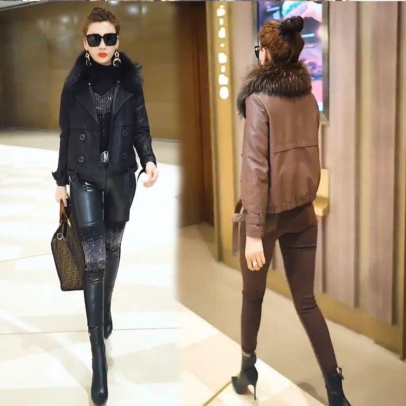 laura gordon big beautiful and bounteous Fashion Leather Coat Big Fur Collar Jacket Beautiful Women 's Clothing 2020 Autumn And Winter New Elegant Fashion