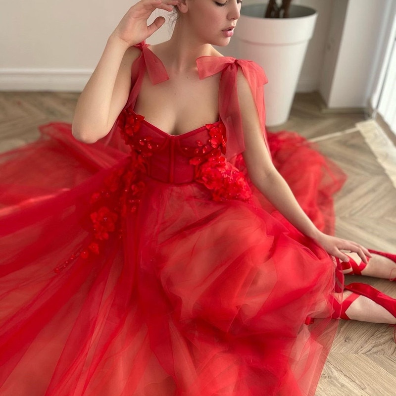 Red Wedding Dress Long Vintage Bridal Dresses 2021 Bow Straps Gowns Flowers 3D Lace with Pocket Mariage