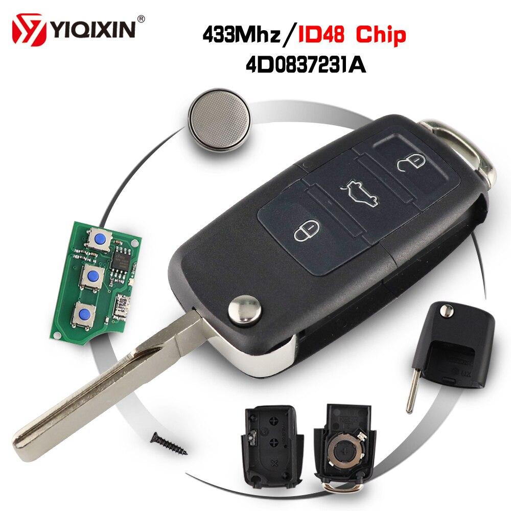 YIQIXIN 3 düğme çevirme katlanır uzaktan araba anahtarı 433Mhz Transponder çip ID48 4D0837231A Audi A3 A4 A6 a8 RS4 TT