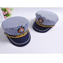 Stripe Captain Navy Marine Skipper Sailor Military Nautical Hat Cap Fancy Dress