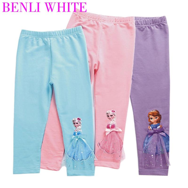 Leggins para niñas 2019 pantalones largos hasta la pantorrilla de dibujos animados 3D Anna Elsa niñas pantalones niños pantalones NIÑOS 2-10 años