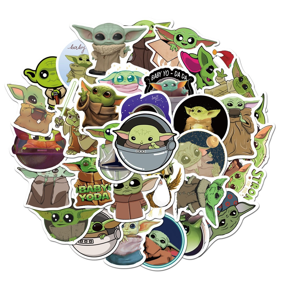 Disney Star Wars Baby Yoda 50pcs Sticker The Mandalorian Sticker for Laptop Skateboard Home Decoration Car Scooter Decal Sticker