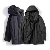 dhfinery men parkas europe russia spring business rest cotton jacket black blue multi pocket long hooded coat for 60 100kg t369