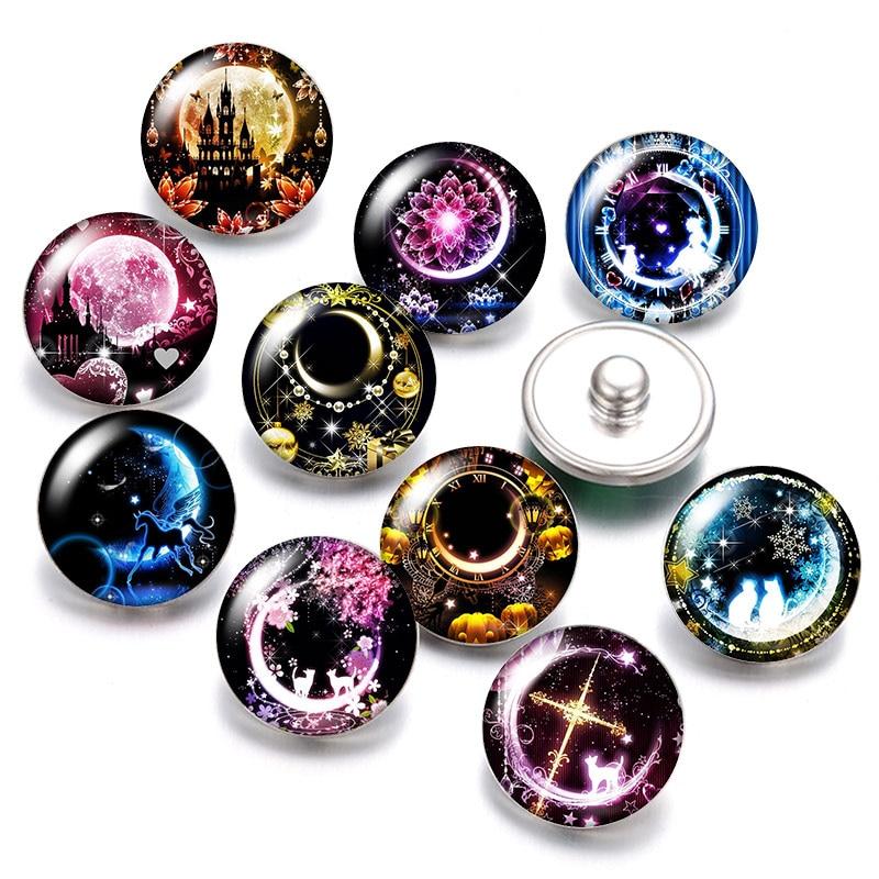 Iluminación noche Luna Castillo Mágico 18mm botones a presión 10 Uds redondas mixtas foto cristal cabujón estilo para botón de presión joyería