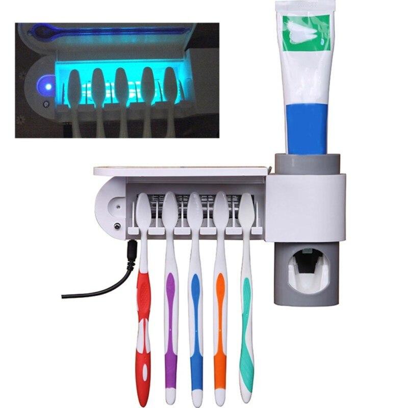 Enchufe de EE. UU. 2 en 1 antibacterias UV luz ultravioleta cepillo de dientes dispensador automático de pasta de dientes esterilizador cepillo de dientes soporte limpiador