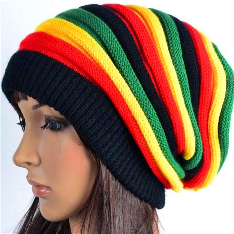 Moda colorida de Jamaica Slouch Beanie gorro de invierno gorro de boina para Mujeres Hombres invierno rayas multicolor Hip Hop baggy tapa