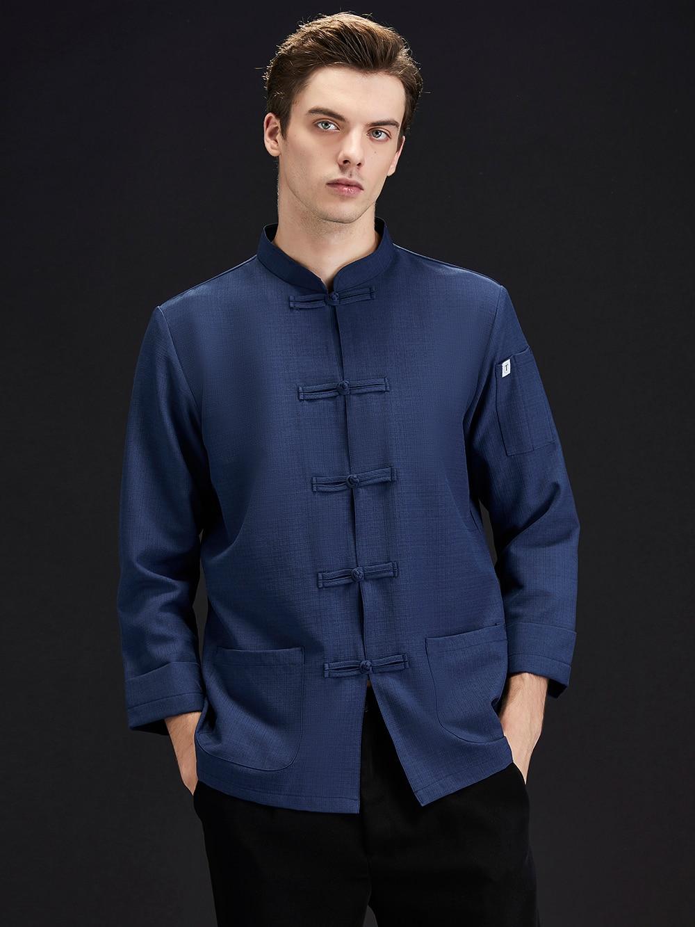 Мужская традиционная китайская одежда на весну и осень, настоящая одежда, мужская одежда кунг-фу, мастер тайцзи, одежда шеф-повара
