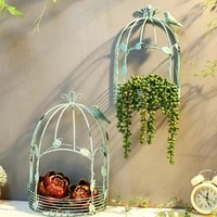 vintage american country wall hanging metal wire iron half bird cage flower pot garden decoration