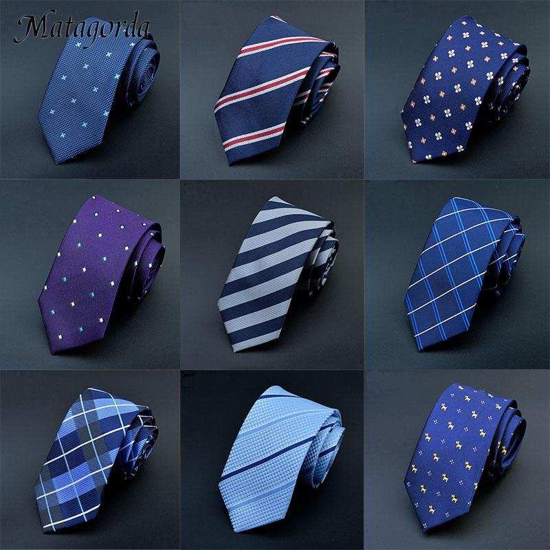 Matagorda 6cm Mens Ties Plaid Jacquard Woven Slim Neckties Wedding Stripe Corbatas Gravata Business Skinny Neck Tie Groom Tie недорого