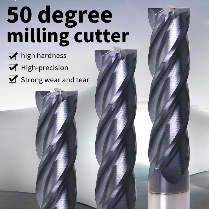 Endmill Cutting HRC50 4 Flute 4mm 5mm 6mm 8mm 12mm Metal Alloy Carbide Milling Tungsten Steel Milling Cutter End Mill Tools