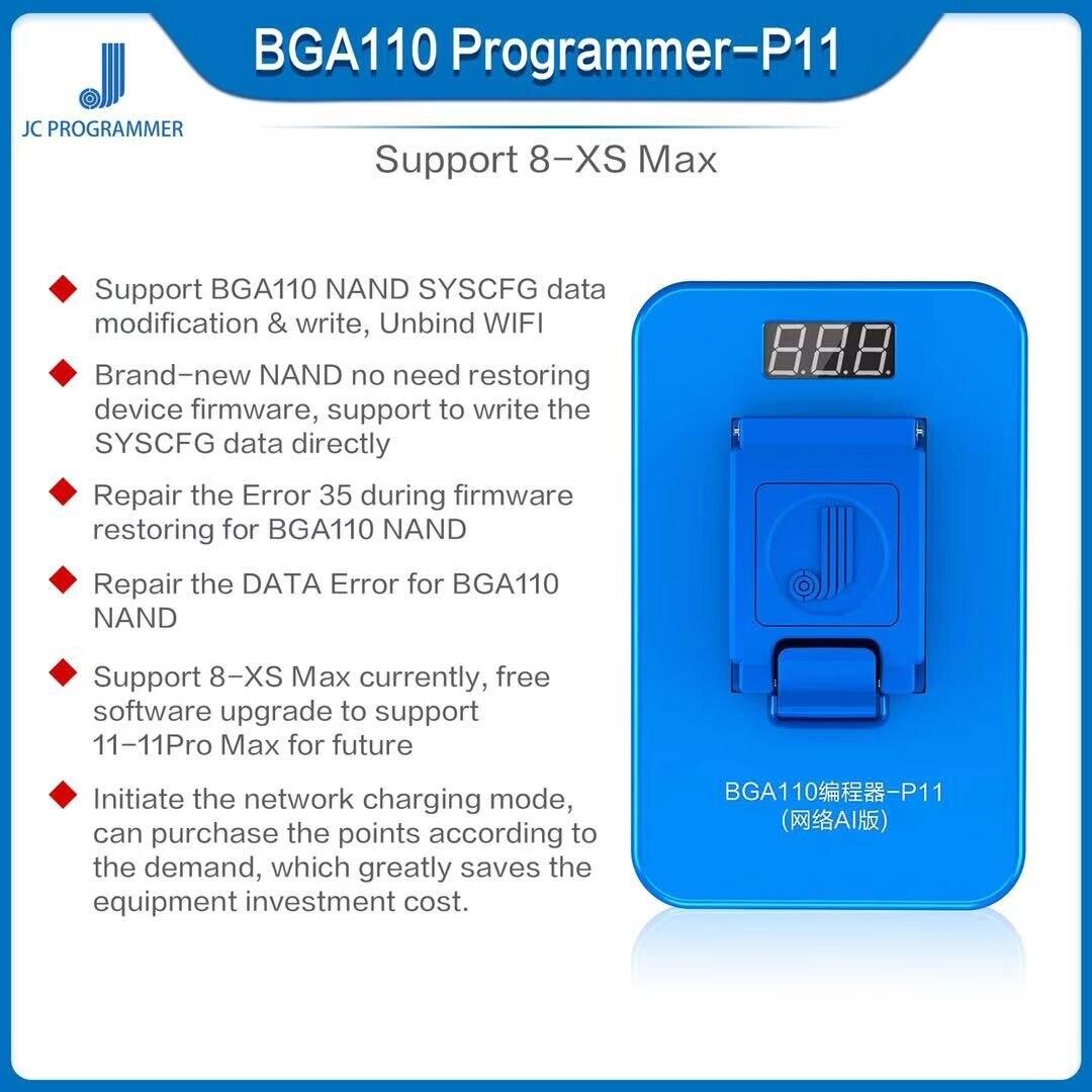 JC P11 BGA110 مبرمج آيفون 8/8P/X/XR/XS/XSMAX NAND فلاش للهاتف BGA110 NAND SYSCFG تعديل البيانات وإصلاح الكتابة