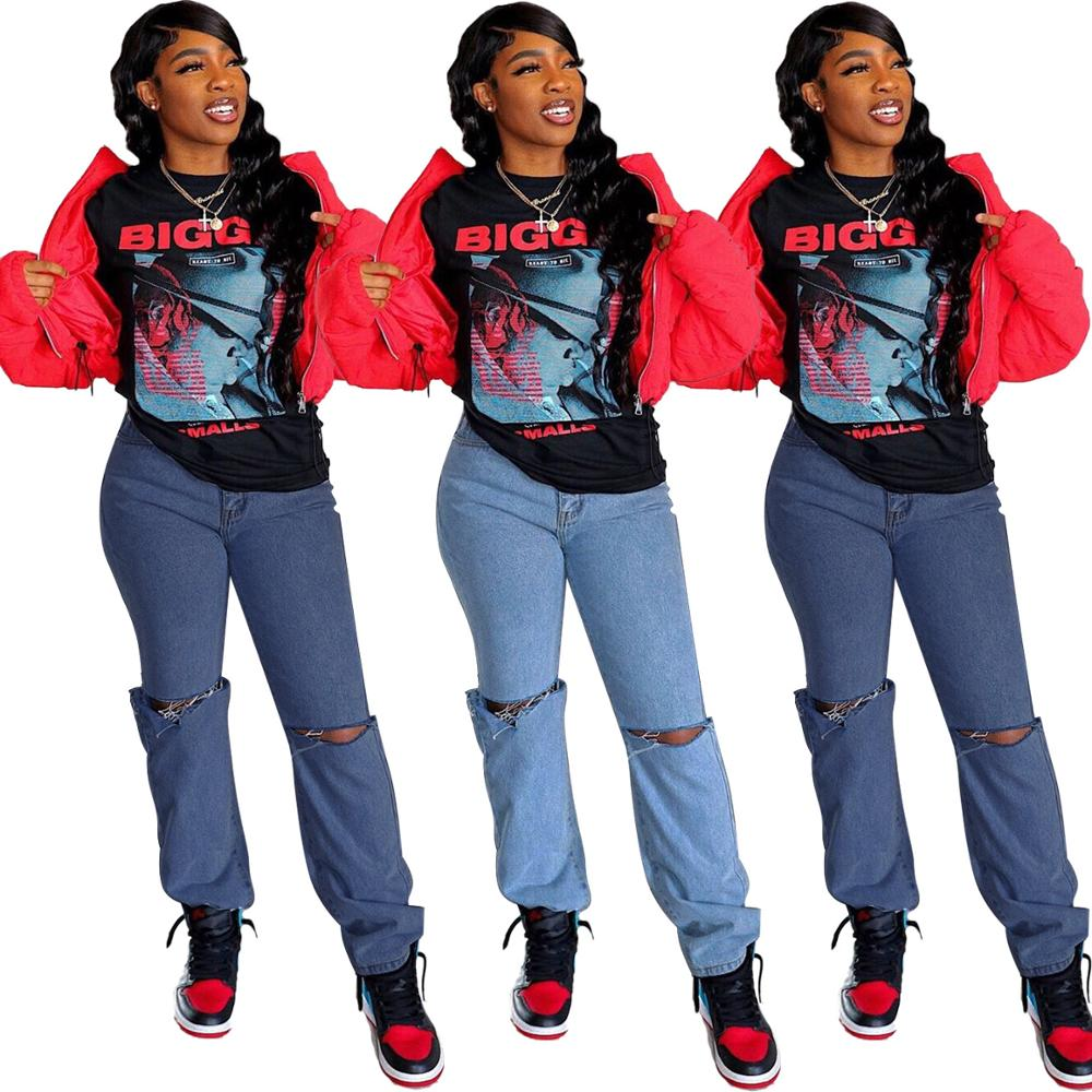 Ladies hip hop jeans loose jeans women mid-rise jeans casual jeans women straight trousers fashion women retro jeans
