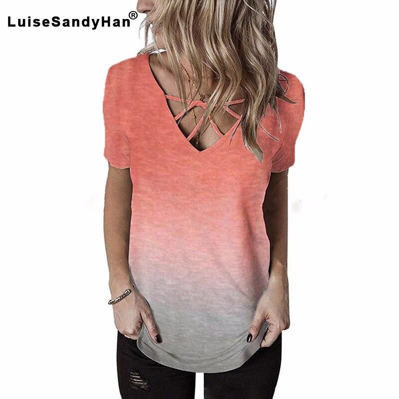 2020 verão camiseta de manga curta feminina com decote em v do arco-íris gradiente