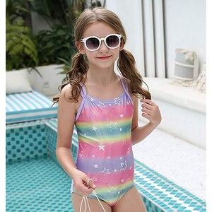 5-14 Years Girls Swimsuit One Piece Strap Crossback Bathing Suits Striped Print Summer Children Swimsuits Beachwear