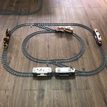 Nouveau 10-100 pièces Trains de ville Train voie ferrée Rails courbes droites blocs de construction Kits briques modèle enfants jouets
