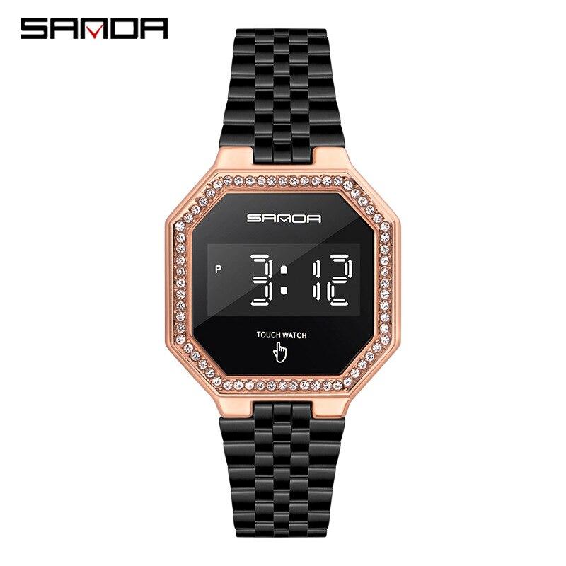 Фото - Модные цифровые часы Feamle, светодиодные спортивные часы, наручные часы для улицы, женские цифровые часы, часы, розовое золото, мужские часы часы