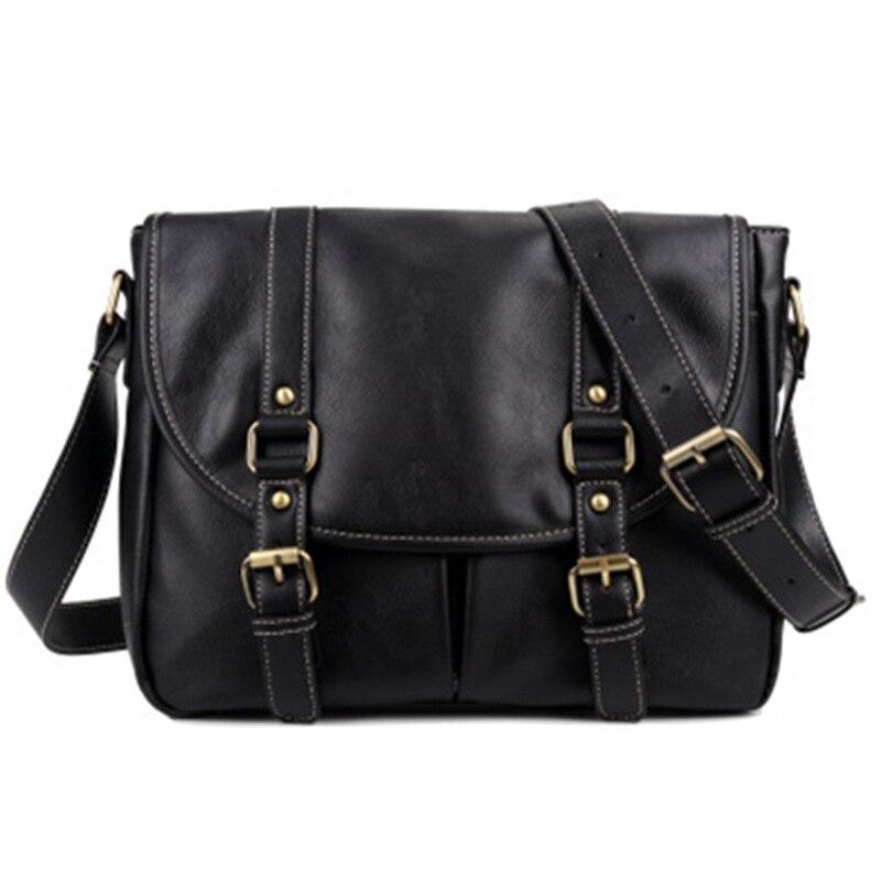 Men's Bag 2020New PU Leather Solid Color Men's Shoulder Bag Casual Simple Wild Messenger Bag Computer Bag Shoulder Messenger Bag