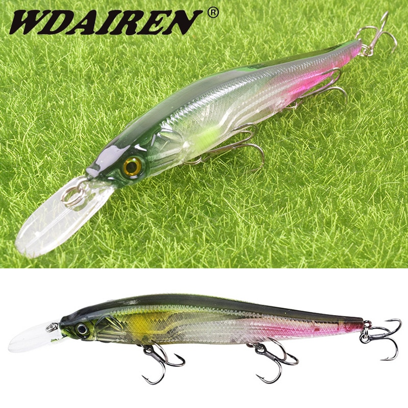 AliExpress - WDAIREN Slow Sinking or Flaoting 135mm 15.5g Minnow Wobbler Fishing Lures Artificial Hard Bait Depth 0-3m Bass Pike Bait Tackle