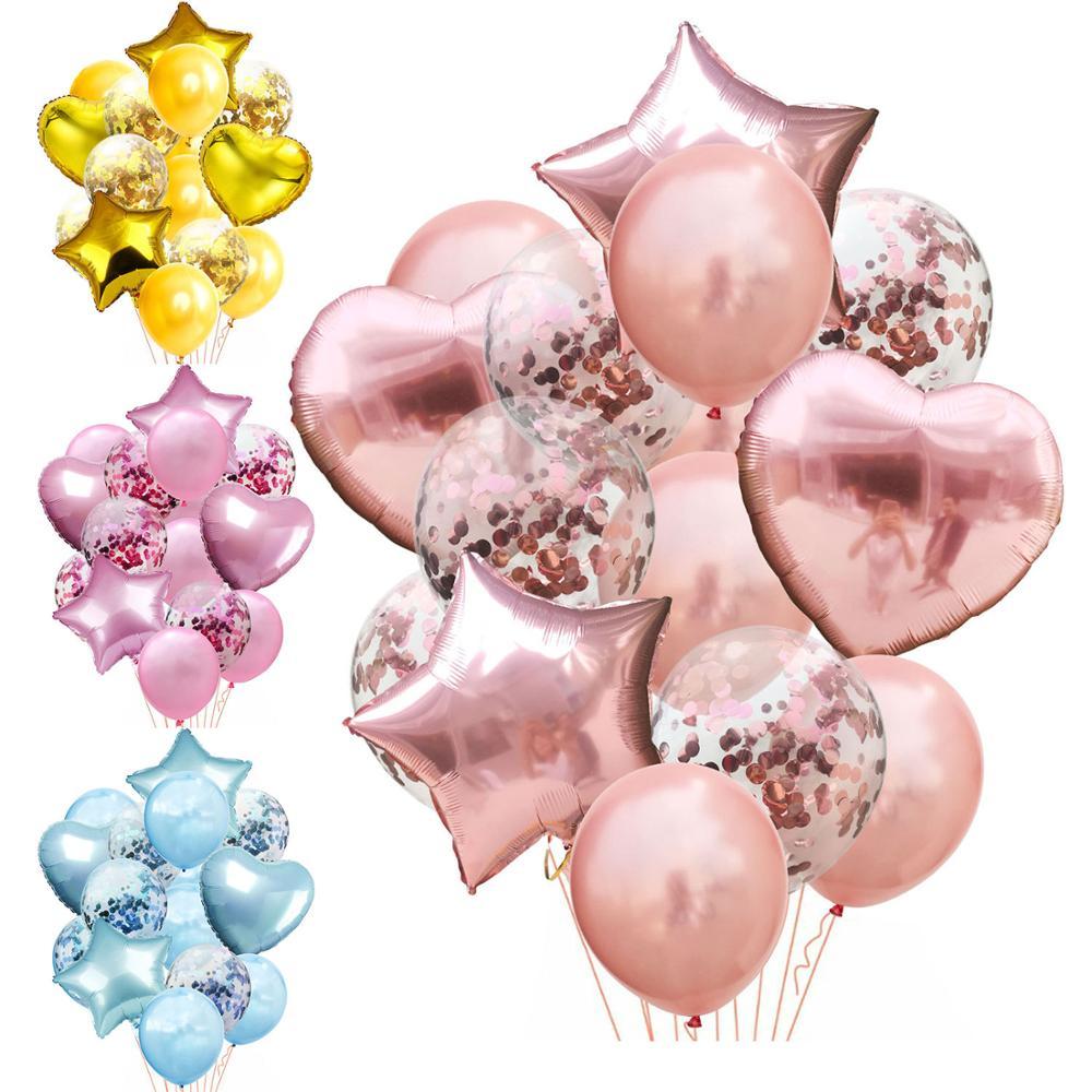 14 unids/lote conjunto de confeti de Globo de oro rosa mezclado globo de fiesta de cumpleaños Bola de aire decoración de globo de cumpleaños de boda DIY