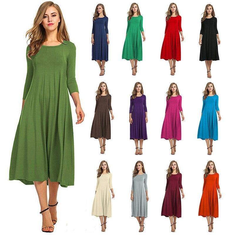 Oufisun-Vestido largo plisado de talla grande, liso, manga 3/4, informal, para Primavera, Maxi, elegante, con bolsillo, sencillo, para mujer