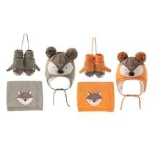 573B Three-piece Hats Scarf Gloves Set Children Hat Baby Winter Hat Scarf Gloves