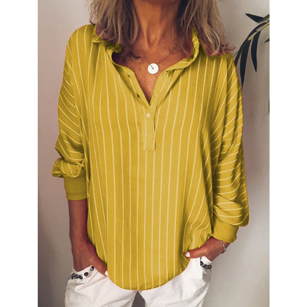 Fashion summer Woman blouses stripe Loose Casual Striped Button Lapel girl Long Sleeve Shirt Top Blouse button female clothing