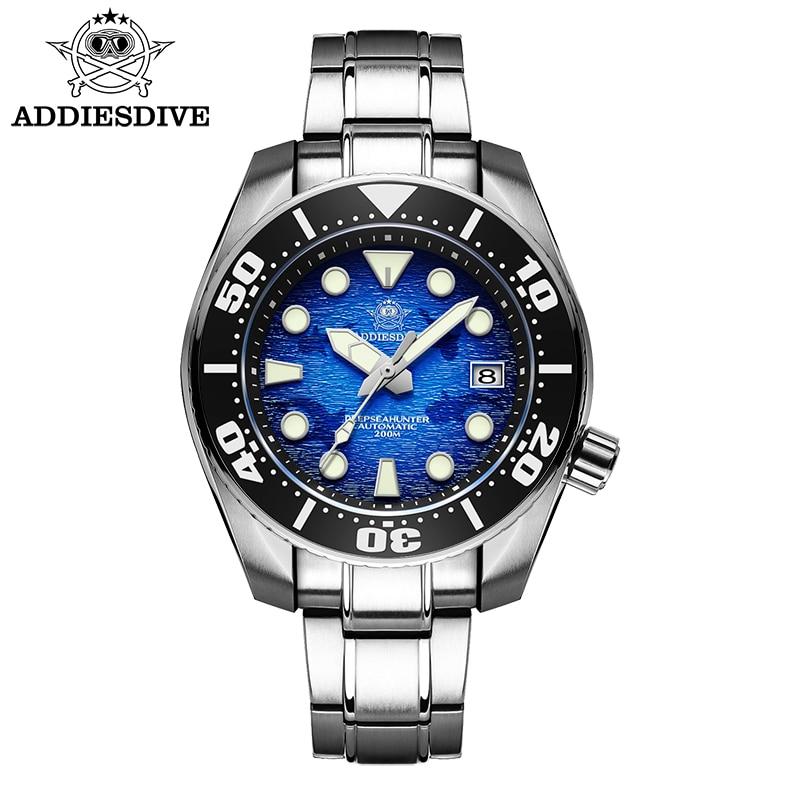 Addie الغوص الرجال الفولاذ المقاوم للصدأ ساعة الأزرق الداكن الهاتفي BGW9 ساعة مضيئة الياقوت الكريستال 200 متر الغوص NH35 ساعات أوتوماتيكية