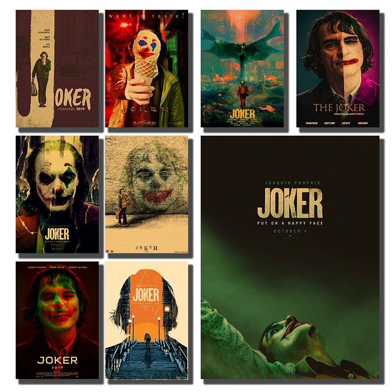 Stickers de pared de póster de película Retro de arte caliente 2019 Joker papel Kraft carteles películas decoración de pared del hogar A3