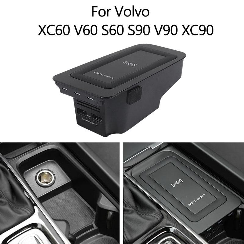 ل فولفو XC90 XC60 S90 V90 S60 سيارة ولاعة السجائر 18W شاحن يو اس بي تشى 15W الهاتف المحمول XC60 XC90 S90 شاحن لاسلكي