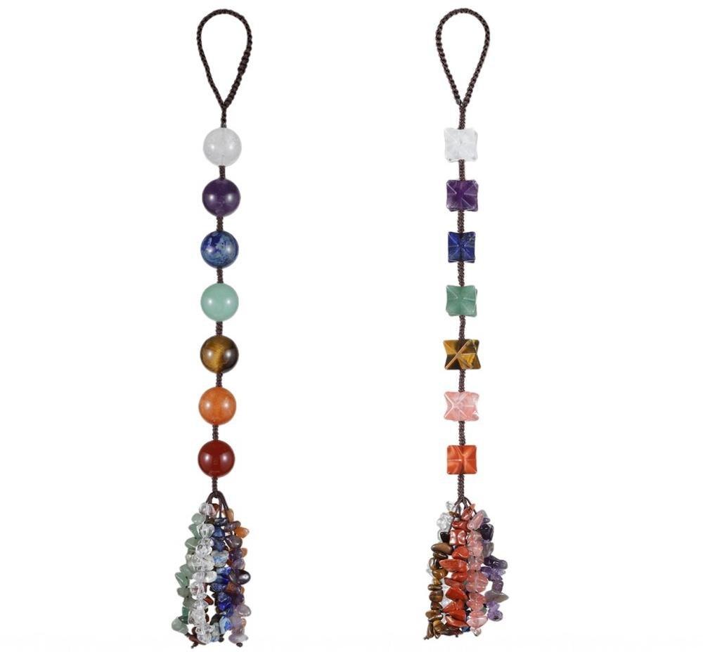 TUMBEELLUWA Handmade 7 Chakra Stone Merkaba/Ball Hanging Ornament Healing Crystal Tumbled Stone Tassel Decor for Indoor Outdoor недорого